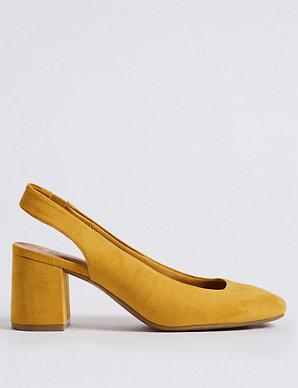 d3e113898031 Wide Fit Block Heel Slingback Court Shoes