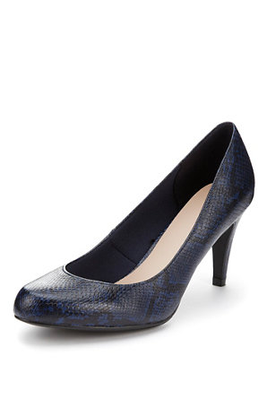 ca809af6cb81 Wide Fit Faux Snakeskin Print High Heel Court Shoes