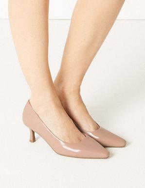 17428e6ba65 Wide Fit Kitten Heel Court Shoes