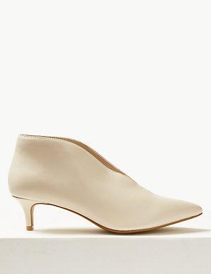 1af91f972227 Wide Fit Kitten Heel V-Cut Shoe Boots | M&S Collection | M&S