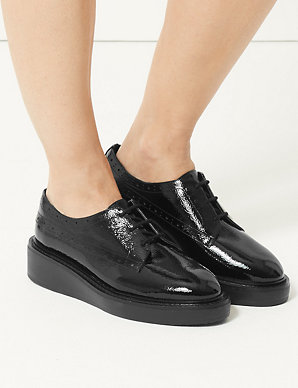 4aee3ae90 Wide Fit Leather Flatform Brogue Shoes | M&S Collection | M&S
