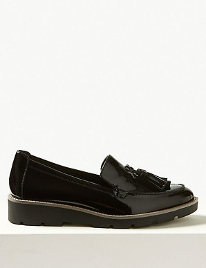 e6b914488d6b5 Wide Fit Leather Flatform Cleat Sole Loafers   M&S Collection   M&S