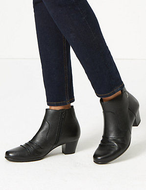 ae685c45961 Wide Fit Leather Ruched Stud Ankle Boots | M&S Collection | M&S