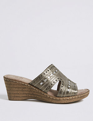5ed581c6d90 Wide Fit Leather Wedge Heel Mule Sandals