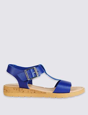 Wide Wedge Fit Heel Leather Sandals lJF1KTc