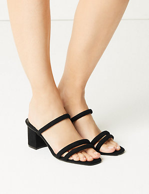 24578b83a1da Wide Fit Multi Strap Mule Sandals | M&S Collection | M&S