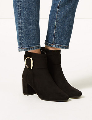 ddd78b25527 Wide Fit Side Buckle Ankle Boots | M&S Collection | M&S