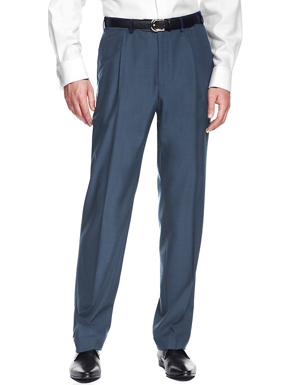 Grey wool blend tailored smart trousers waist 42 inches Marks /& Spencer new