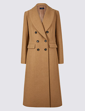 d0cd38bf61e Wool Blend Double Breasted Coat