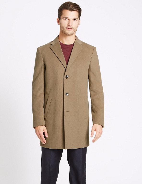 Wool Blend Revere Coat by Marks & Spencer