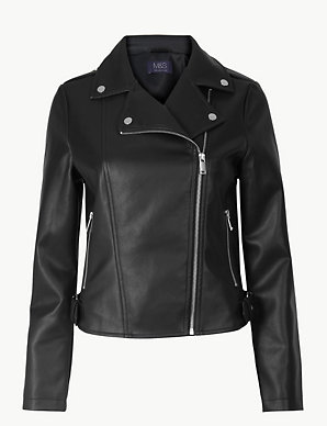 1f282b392 Zipped Detail Biker Jacket | M&S Collection | M&S