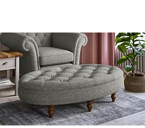 Oval Button Footstool