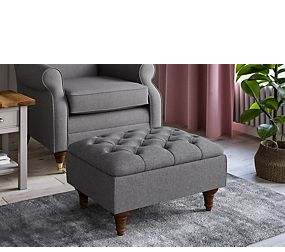 Highland Button Small Storage Footstool