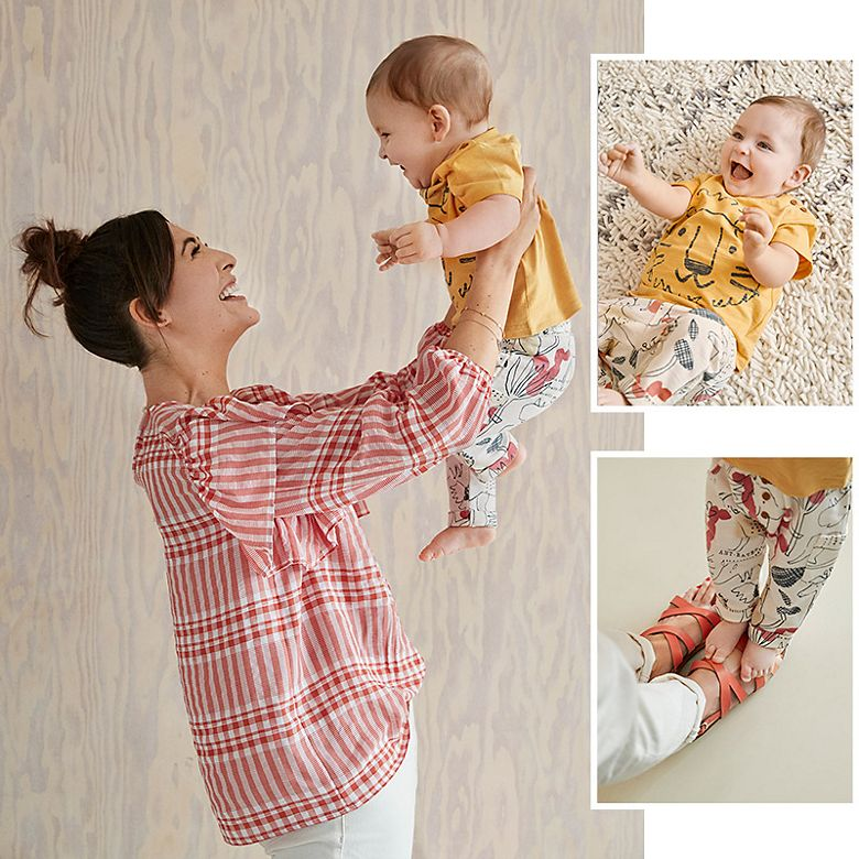 Rachel and her baby boy wearing a selection from the M&S baby range and womenswear