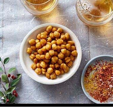 Baked chickpeas coated in ground spices