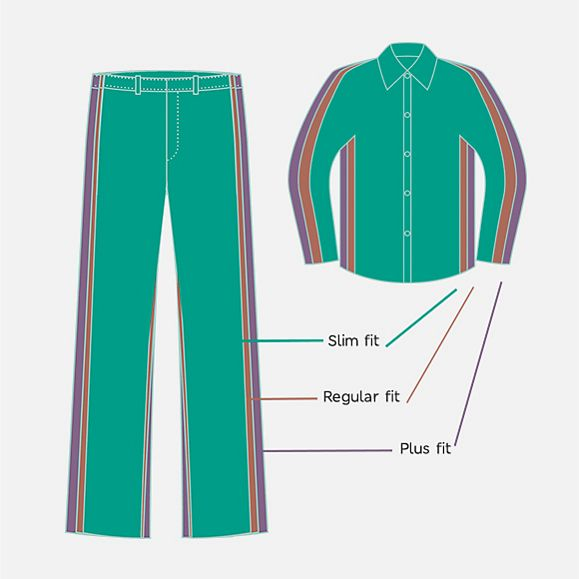 illustrated outline of different cuts of trousers and shirts for M&S school uniform