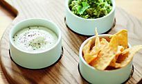 Chip and dip serving tray