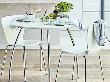 Round white kitchen table and chairs