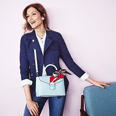 Model wears M&S handbag and jacket