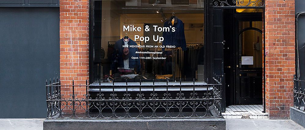 Mike & Tom's pop-up shop exterior
