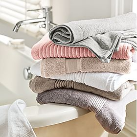 Stack of towels in a bathroom