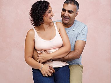 Sal and Gurveer taking part in the M&S Breast Cancer Now campaign