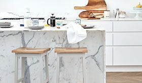 Kitchen stools at a marble island