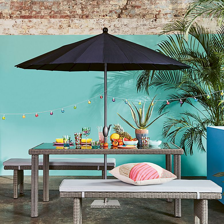 Marlow garden table and benches with parasol and picnicware