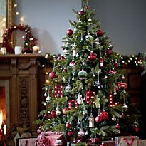 Large green Christmas tree with decorations