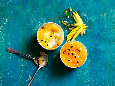 Two mango, passion fruit and coconut pots