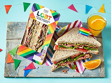 Two LGBT sandwiches surrounded by colourful bunting