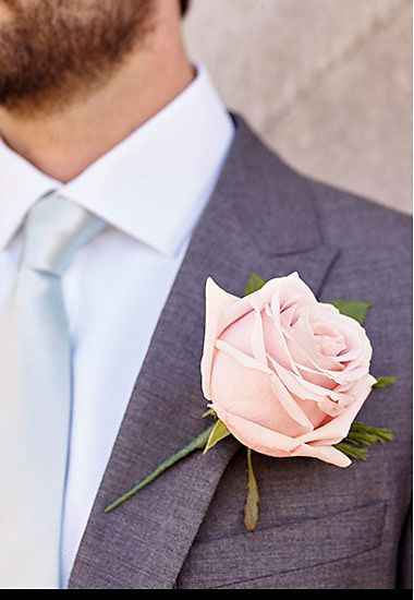 Groomsman wearing buttonhole