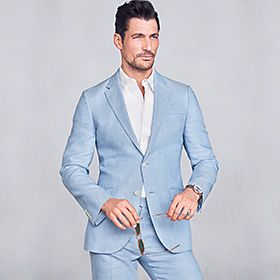 Man wearing pale blue summer suit