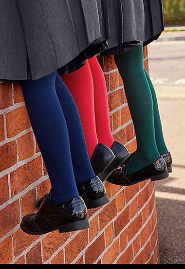 Girls wearing M&S tights and school shoes