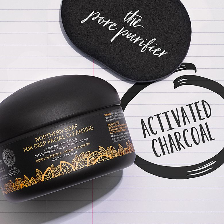 Natura Siberica Northern Soap next to the words 'activated charcoal'