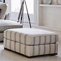 Frankie storage footstool in striped upholstery
