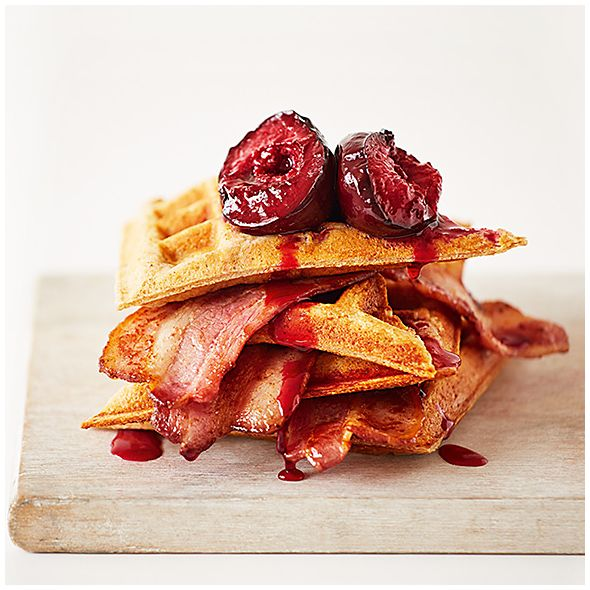 Roast maple plums on waffles with bacon recipe