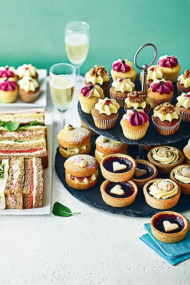 Afternoon tea treats on a cake stand
