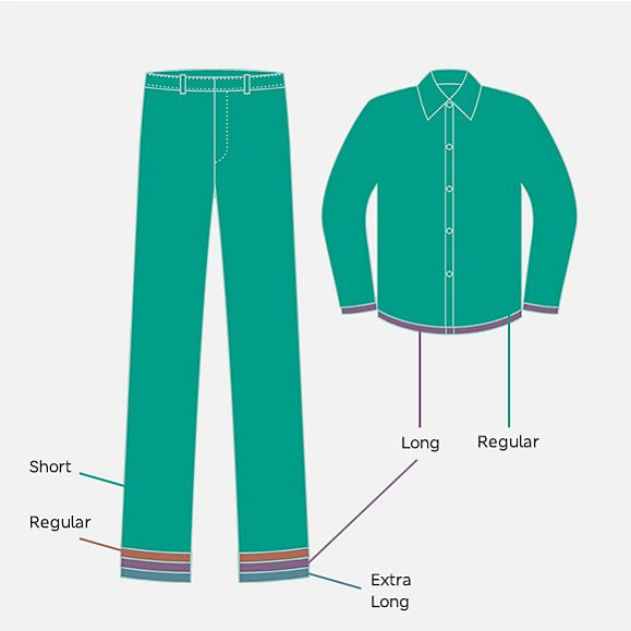 Illustration showing the different trouser and shirt lengths available in our M&S school uniform range