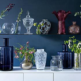 Vases on shelves