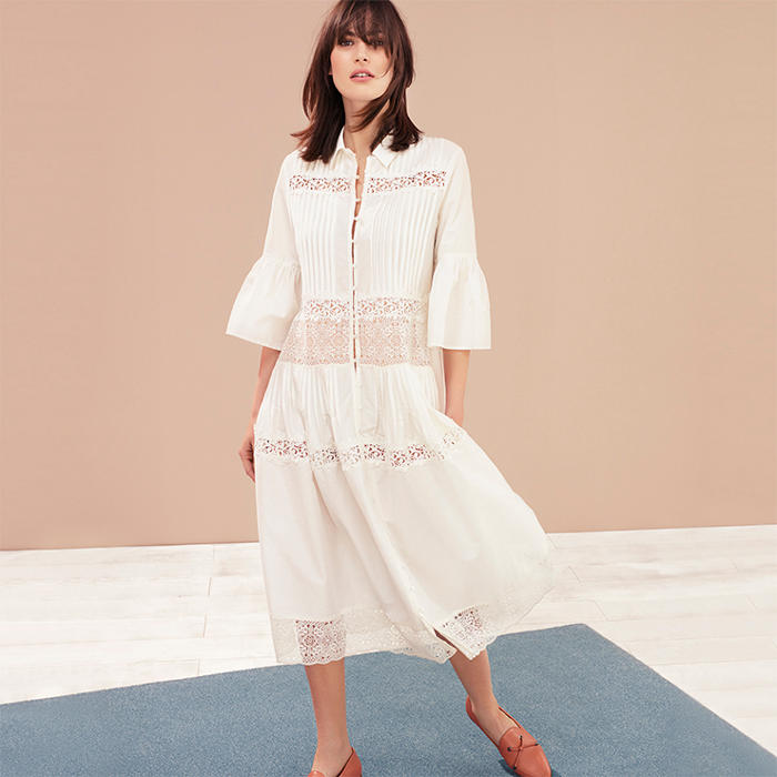 Woman wears M&S Collection white lace and cotton shirt dress with nude loafers