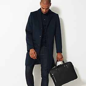 Man carrying smart leather briefcase bag