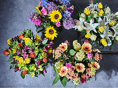 A selection of flower bouquets