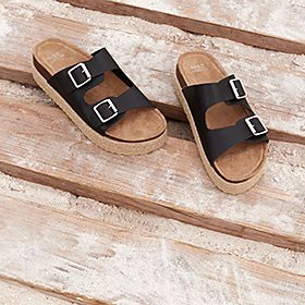 Navy leather buckled sandals