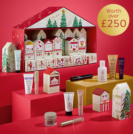 Our 2017 Beauty Advent Calendar shaped as a festive house