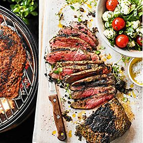 Barbecue steak with salads