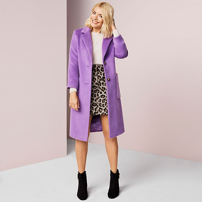 Holly Willoughby wears M&S purple coat and leopard-print skirt