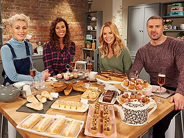 Emma Willis, Rochelle Humes, Amanda Holden and Paddy McGuinness in the M&S tasting kitchen