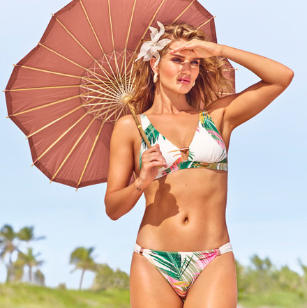 Rosie Huntington-Whiteley wearing a printed bikini from the Rosie for Autograph range