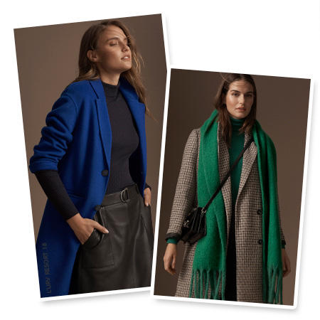 Model wears an electric-blue coat with the sleeves pushed up over a black long-sleeve top and black leather pencil skirt & Model wears a grey checked coat over a green roll-neck jumper with a green scarf and black cross-body bag